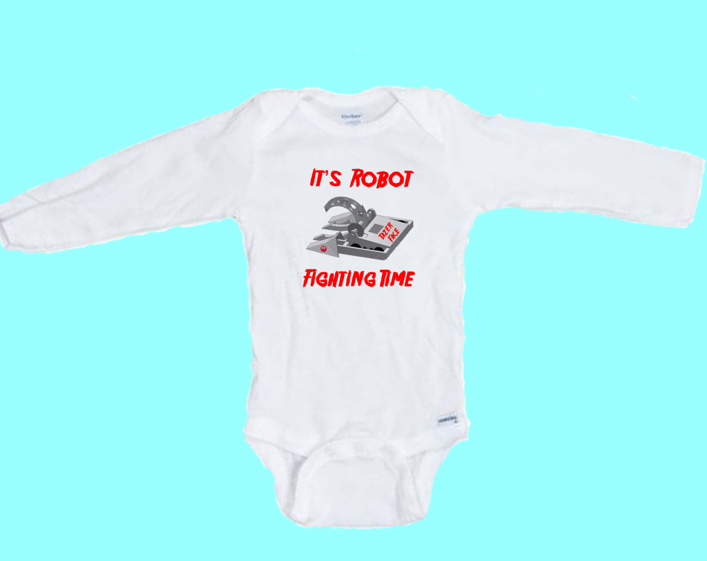 871f68df0788 It s Robot Fight Time Funny Long Sleeve Onesie