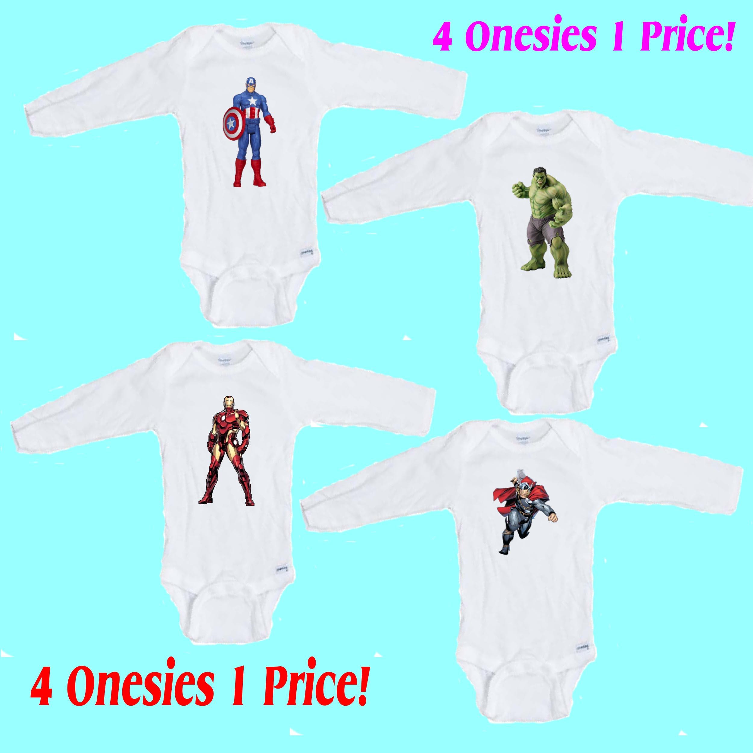 2a7ce1d0e Superhero 4 pack Long Sleeve Baby Onesies   Wonderful Baby Wear